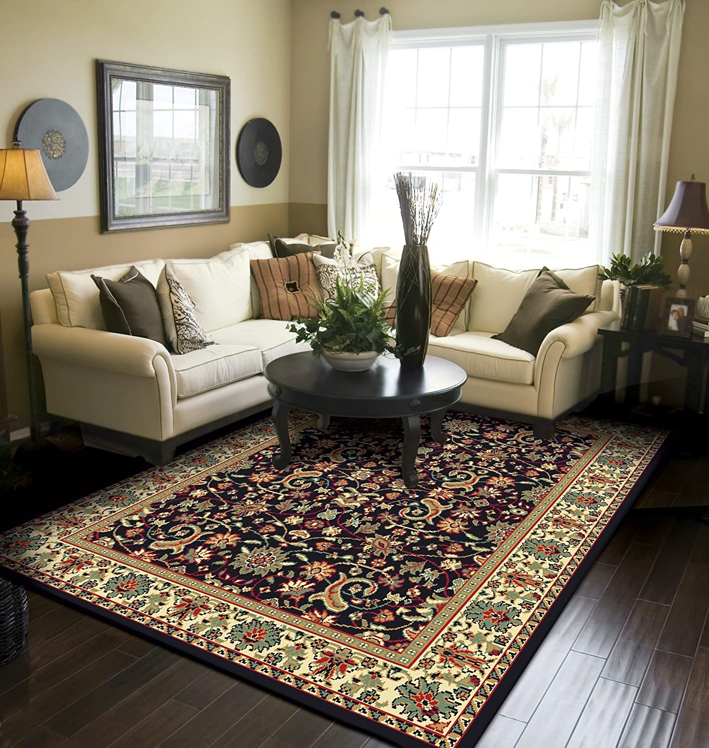 Amazon Com Traditional Area Rugs For Living Room 8x10 Persian All Over Tabriz Pattern Rug Home Kitchen