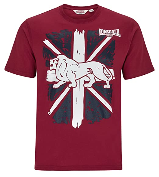 716ec2f0e8 Lonsdale Men´s Regular-Fit T-Shirt Classic Lion Logo on Graphic Union Jack  Red