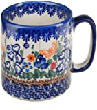 BCV Classic Boleslawiec, Polish Pottery Hand Painted Ceramic Stoneware Mug, Large 400ml (U-099)