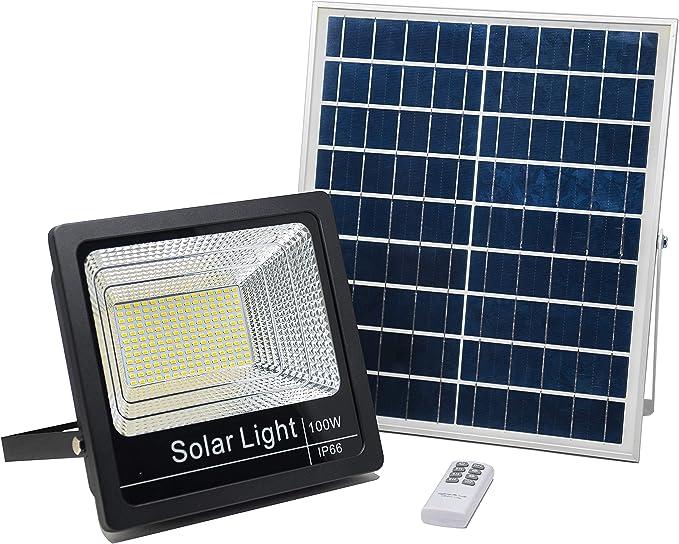 Luz Solar Exterior Mando a Distancia 100W, Foco Solar LED