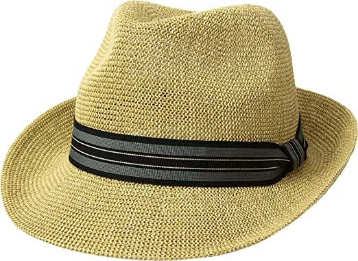 San Diego Hat Company Men s Striped Grosgrain Knitted Paper Fedora ... 197bfaa1fb9