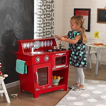 Kidkraft Color Infantil Cocinita De Madera Clásica 53362 Rojo n8wP0Ok