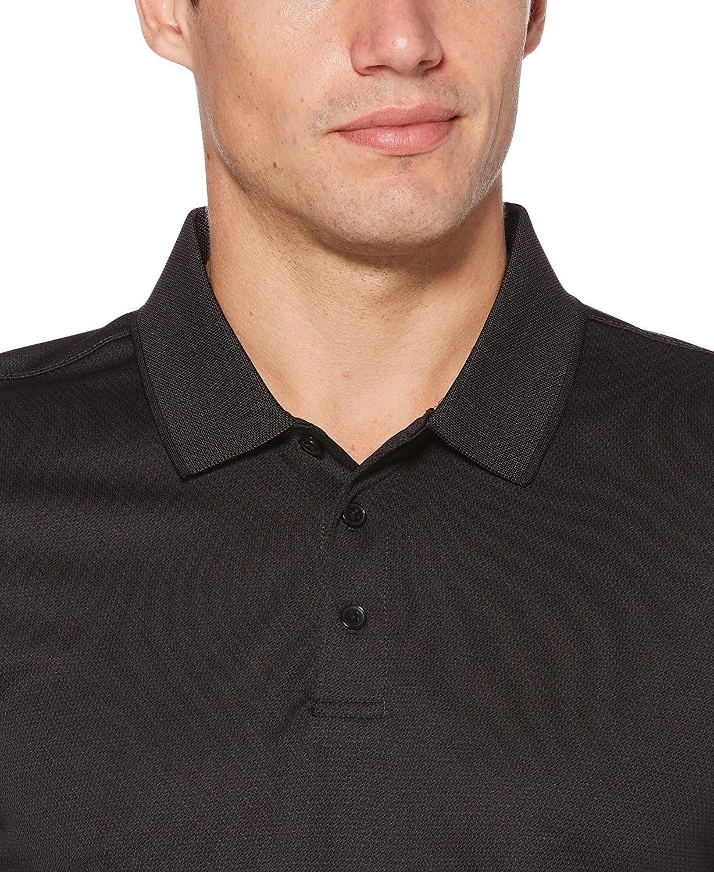 Perry Ellis Mens 3 Button Long Sleeve Jacquard Polo