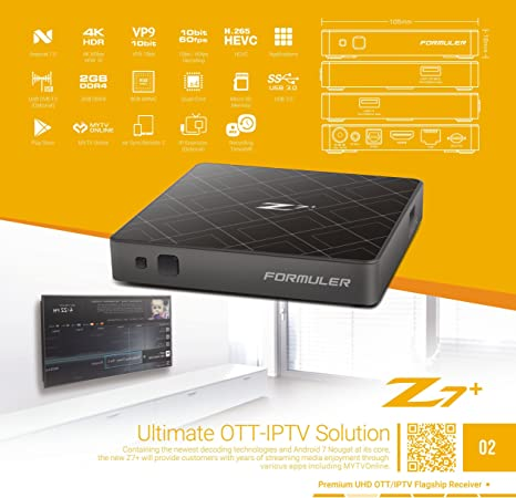 Formuler Z7 + 4 K IPTV Android 7.0 media player, H 2.65, WiFi ...