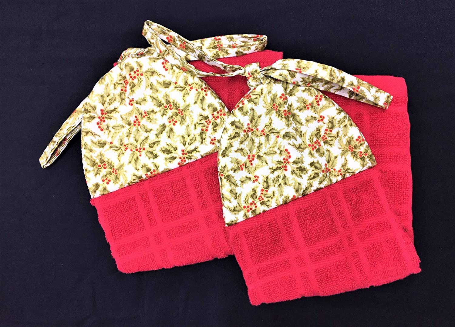 Set of 2 Sage Holly Christmas Holiday Ties On Stays Put Kitchen Hanging Loop Hand Dish Towels