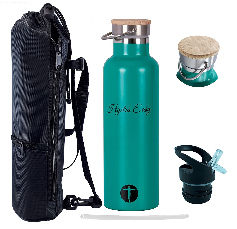 Trinkflasche Edelstahl [Hydra-Easy] mit Sportverschluss [Gratis] und ...