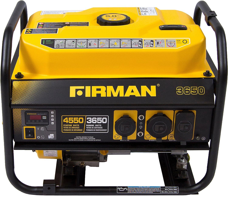 Firman P03601 4550 3650 Watt Recoil Start Gas Portable Generator cETL Certified, Black