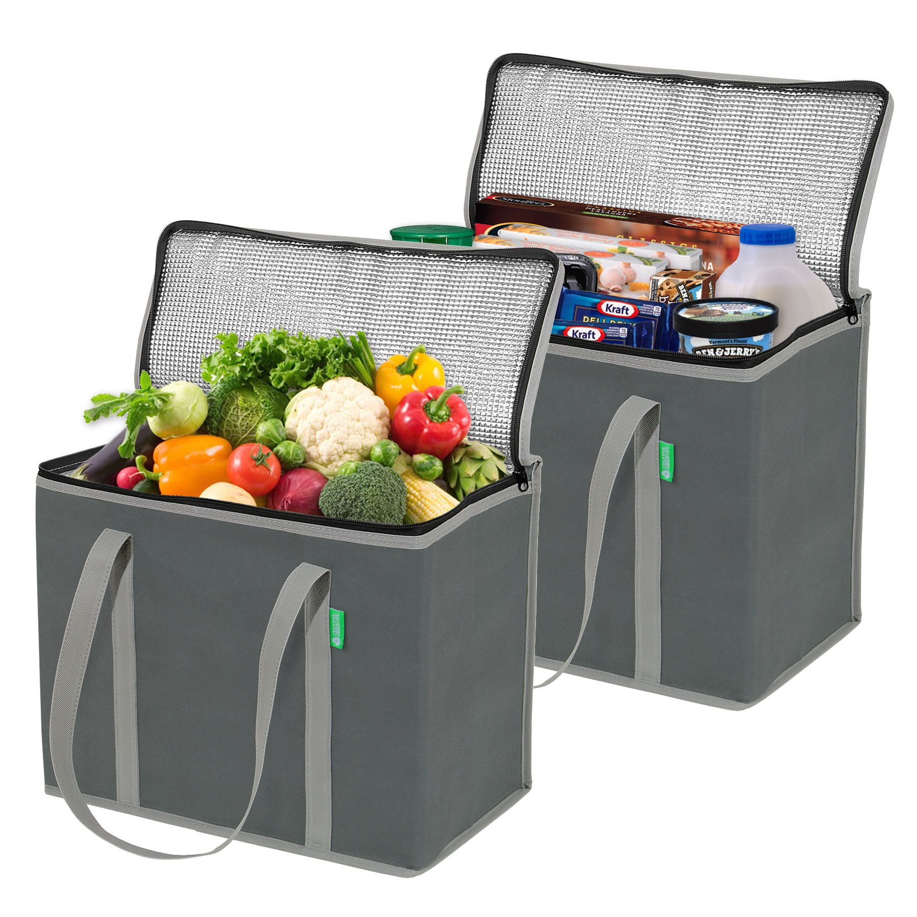 Insulated Grocery Shopping Bags (2 Pack - Gray). X-Large Size, Premium Quality, Heavy Duty Cooler Bag Set with Long Handles and Zipper Top. Reusable Tote for Warm or Cold Food, Freezer Items, Delivery