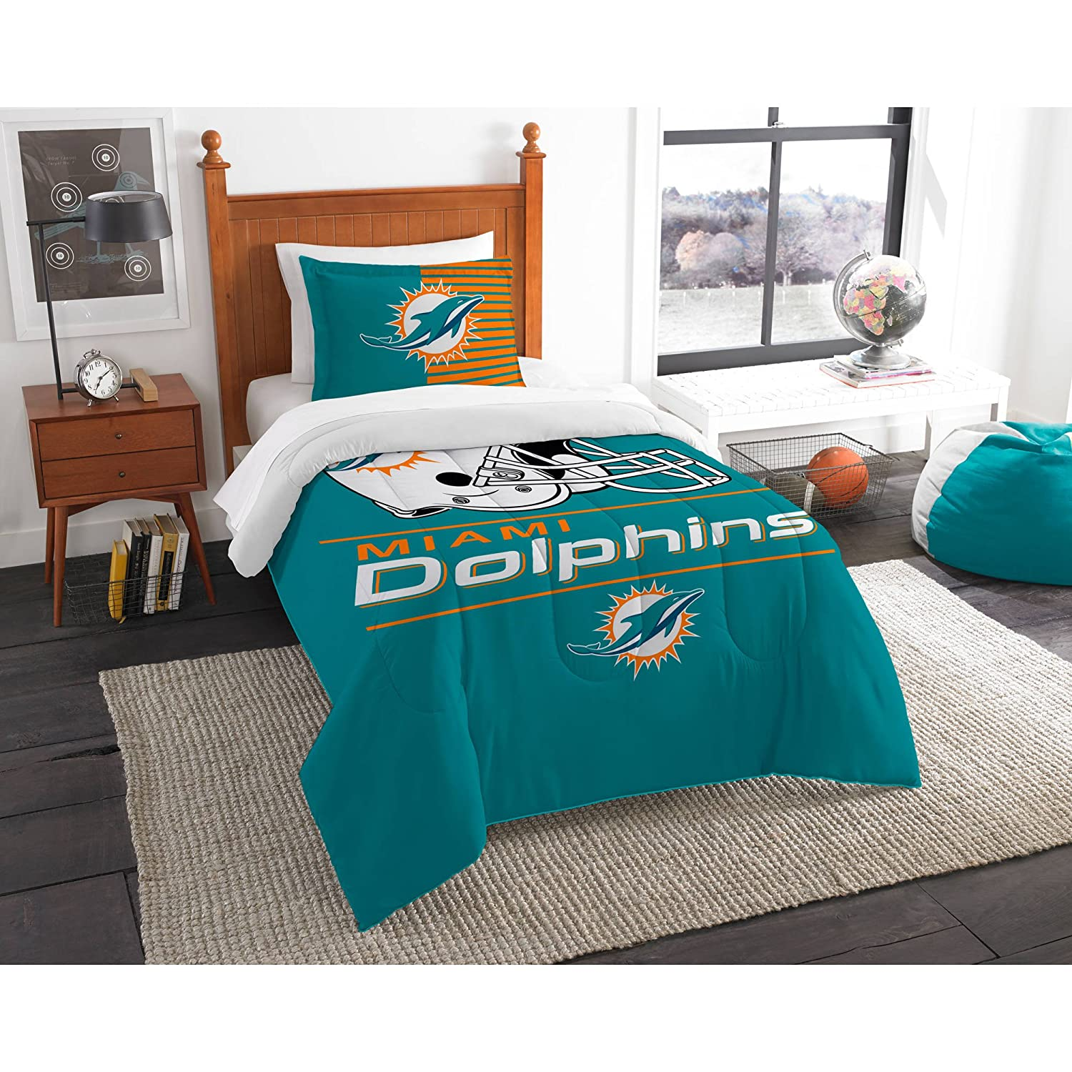 2 Piece NFL Dolphins Comforter Twin Set, Blue Orange Football Themed Bedding Sports Patterned, Team Logo Fan Merchandise Athletic Team Spirit Fan, Polyester, For Unisex