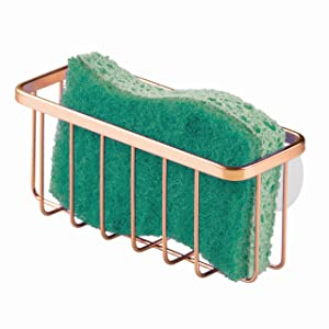 "InterDesign Gia Kitchen Sink Suction Holder for Sponges, Scrubbers, Soap, Kitchen, Bathroom, 6.75"" x 2.5"" x 2.5"", Copper"