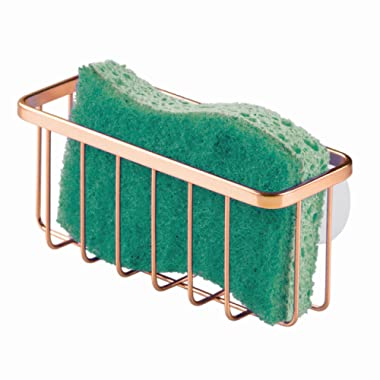 InterDesign Gia Kitchen Sink Suction Holder for Sponges, Scrubbers, Soap, Kitchen, Bathroom, 6.75  x 2.5  x 2.5 , Copper
