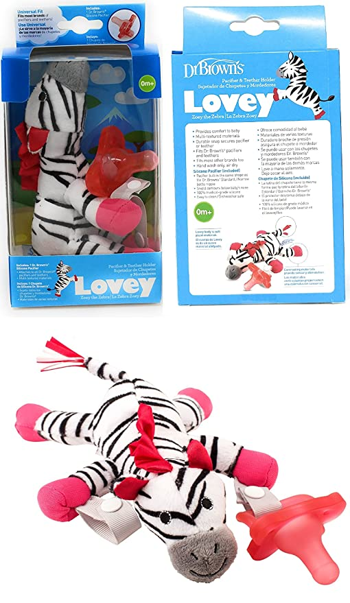 Amazon.com: Dr. Browns Zebra Lovey with Pink One-Piece Pacifier - Black/White: Toys & Games
