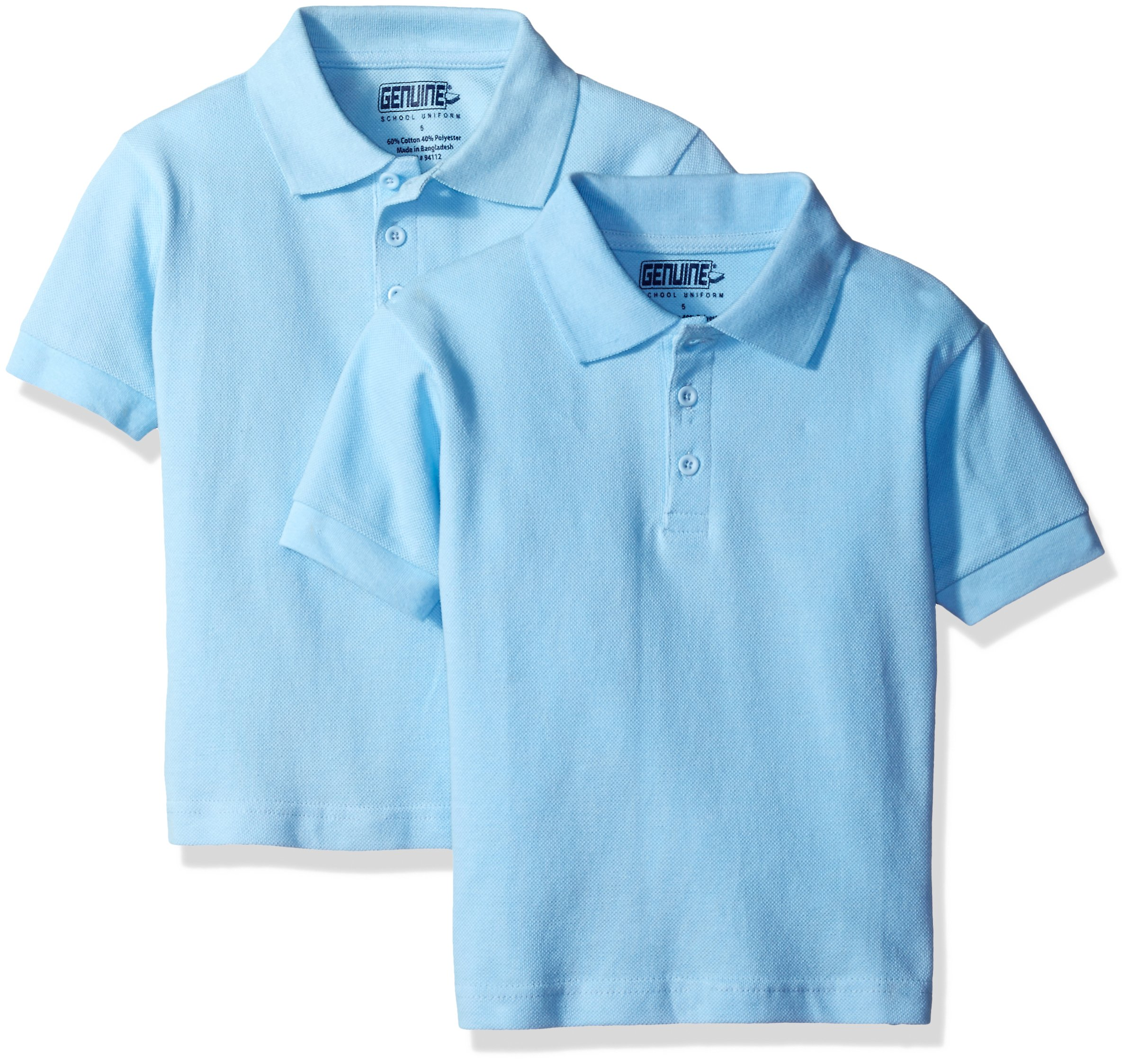 Genuine Little Boys' 2 Pack Polo Shirt, Light Blue-PLHF, 7