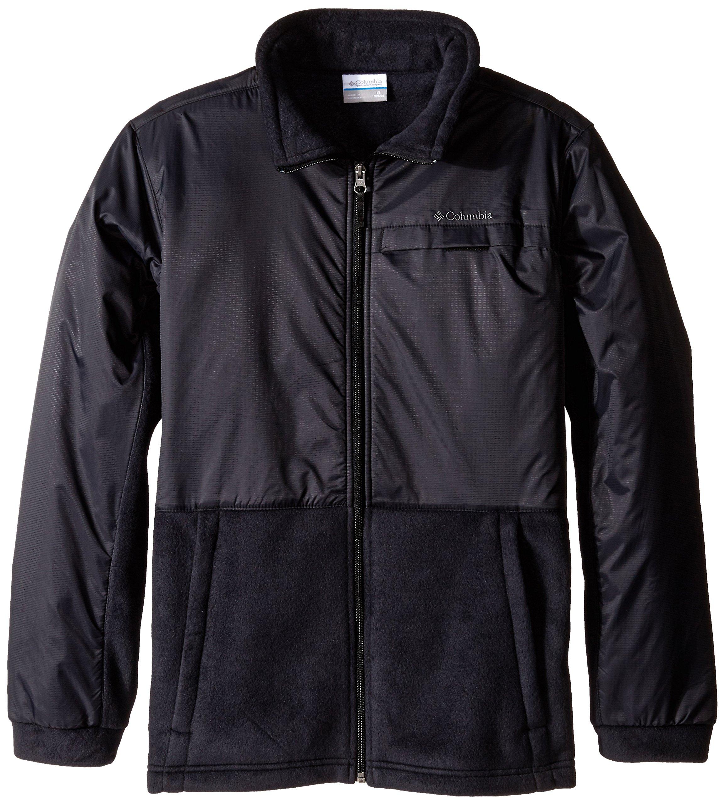 Columbia Big Boys' Steens MT Overlay Fleece Jacket, Black, Medium