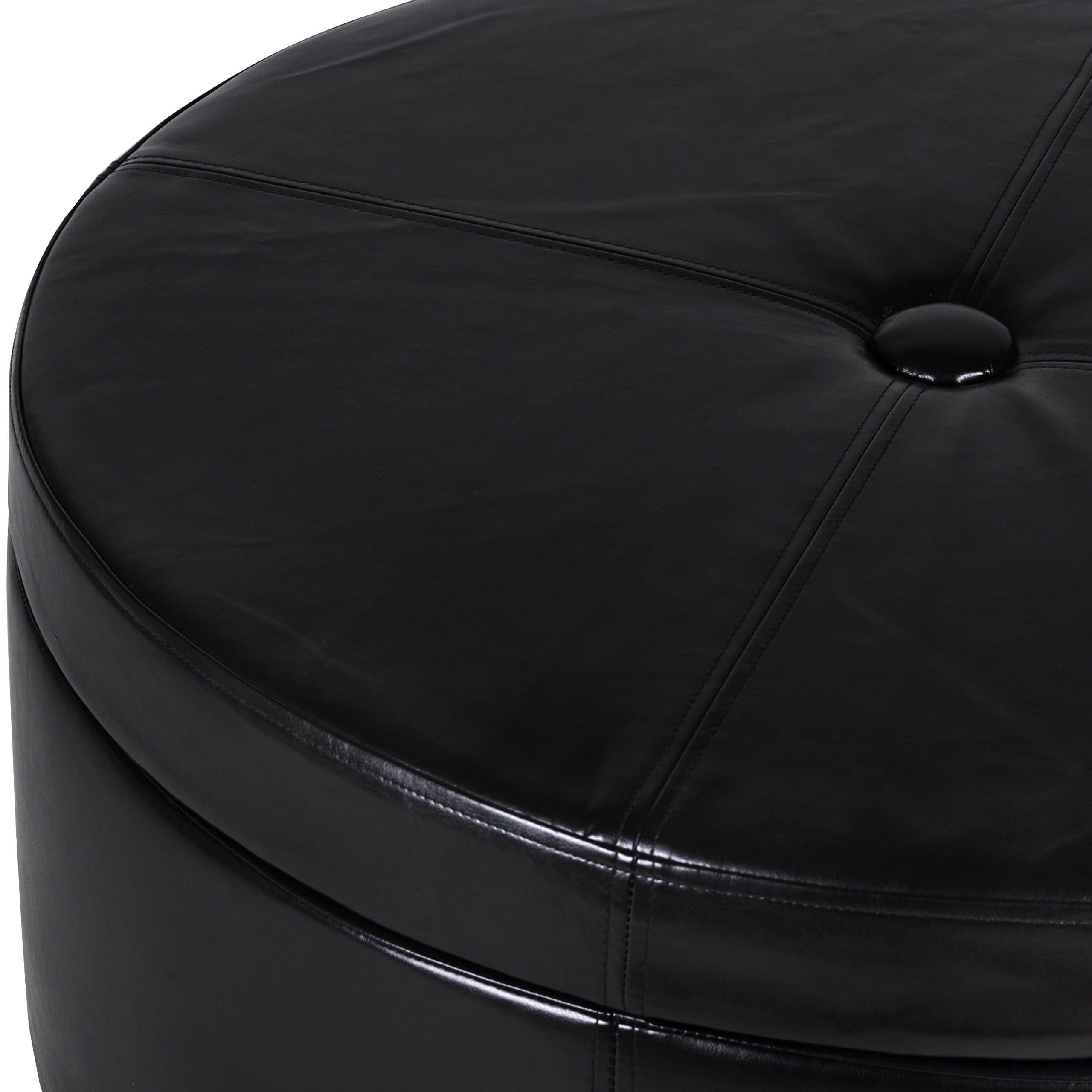 HomePop K5508-E676 Leatherette Round Button Tufted Storage Ottoman, 31.75'' x 16.50'', Black by HomePop (Image #4)
