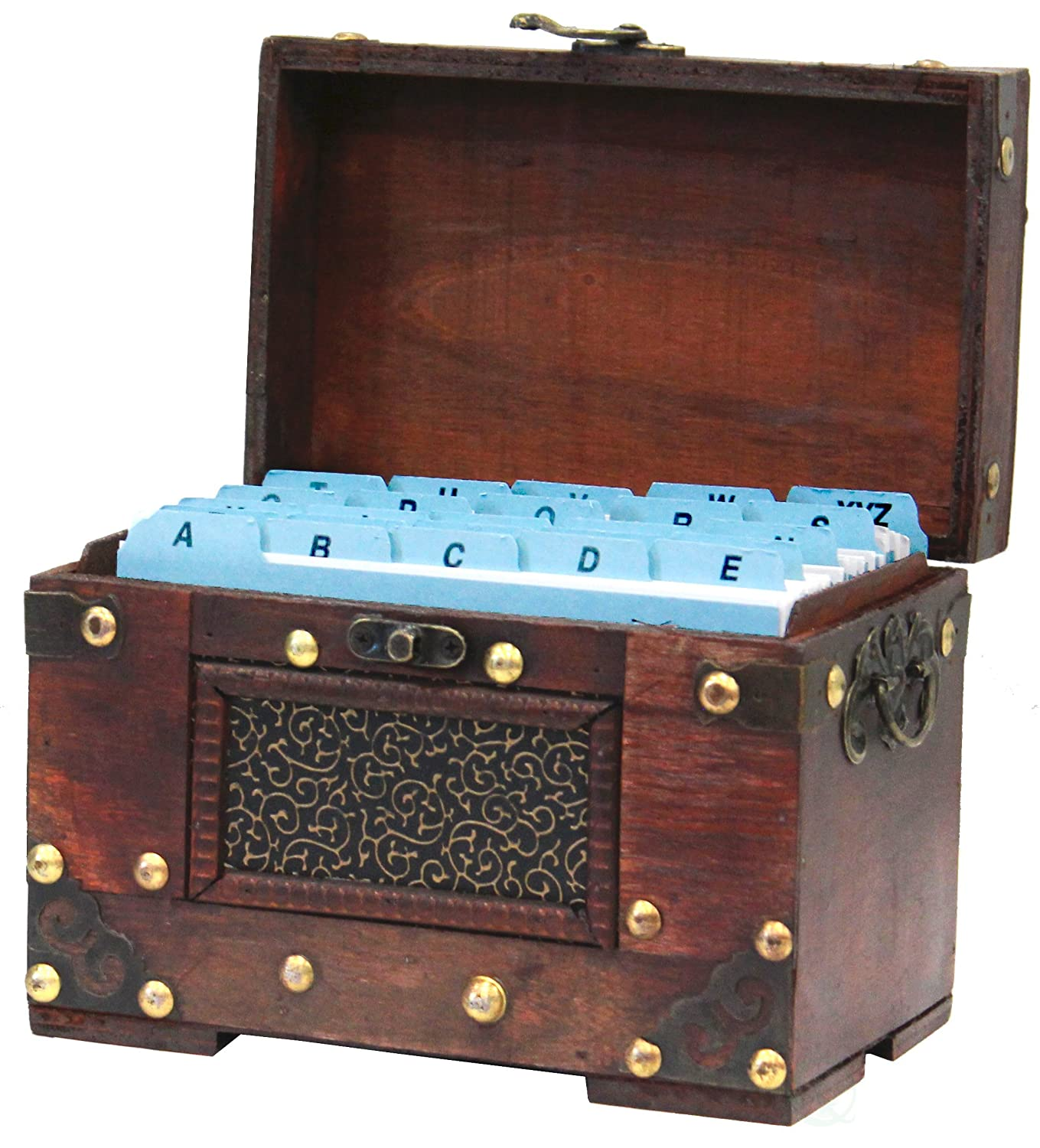 Vintiquewise QI003389.2 Rustic Studded Index/Recipe Card Box with Antiqued Latch, Set of 2 Sizes