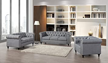 Container Furniture Direct Modern Chesterfield Linen FabricTufted Sofa,  Loveseat And Chair With Wood Legs (