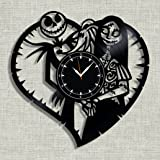 """SofiClock Nightmare Before Christmas Vinyl Record Wall Clock 12"""", The Best Gift for Decor (B) (B)"""