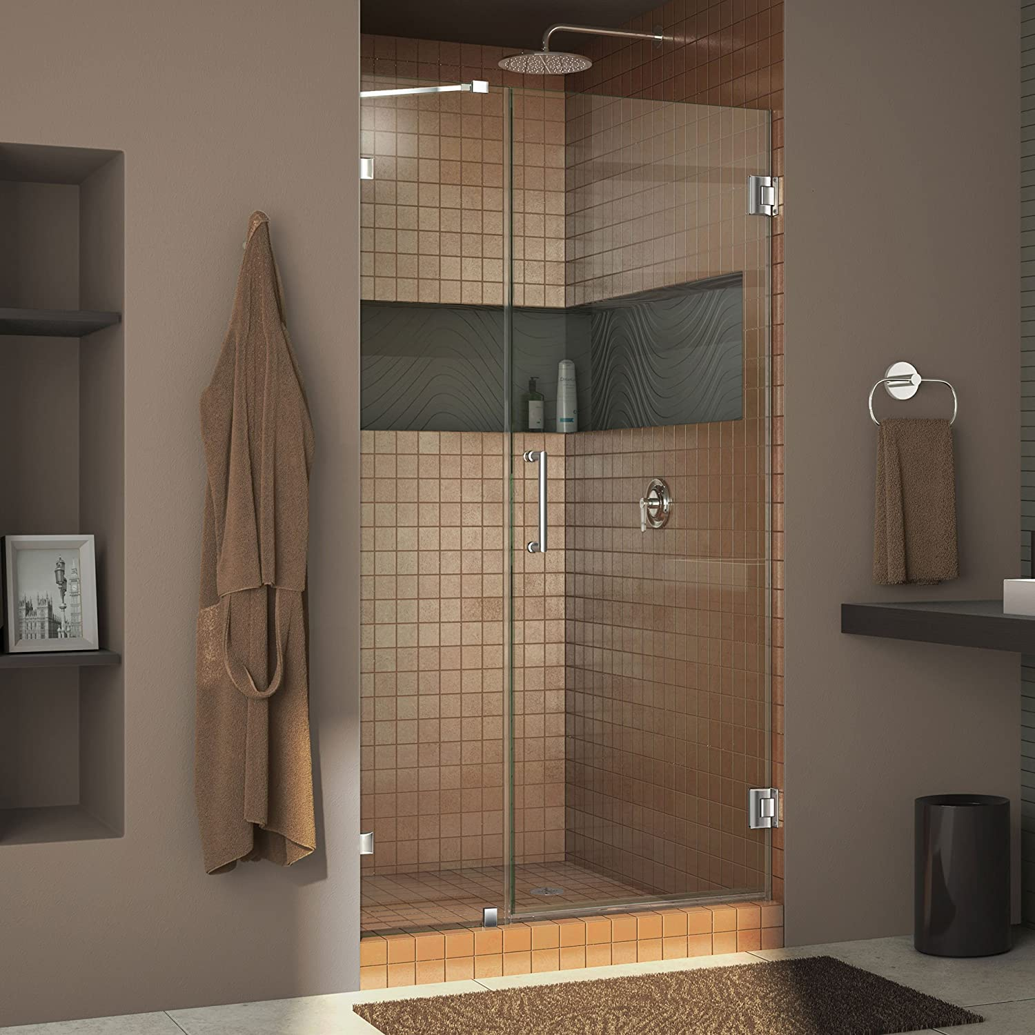 DreamLine Unidoor Lux 40 in. W x 72 in. H Fully Frameless Hinged Shower Door with Support Arm in Chrome, SHDR-23407210-01