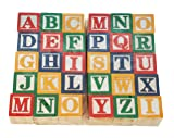 Skoolzy 30 Wood Alphabet Blocks - Stacking ABC