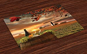Lunarable Winery Place Mats Set of 4, White Wine with Barrel on Vineyard at Sunset in Chianti Tuscany Italy, Washable Fabric Placemats for Dining Room Kitchen Table Decor, Apple Green Orange Brown