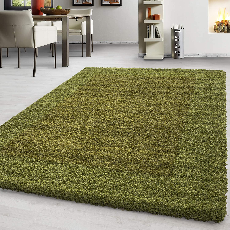 Hochflor Shaggy Teppich Rechteckig und Rund 3 3 3 cm Florhöhe Bordüre Wohnzimmer, Farbe Anthrazit, Maße 300x400 cm 75f40f