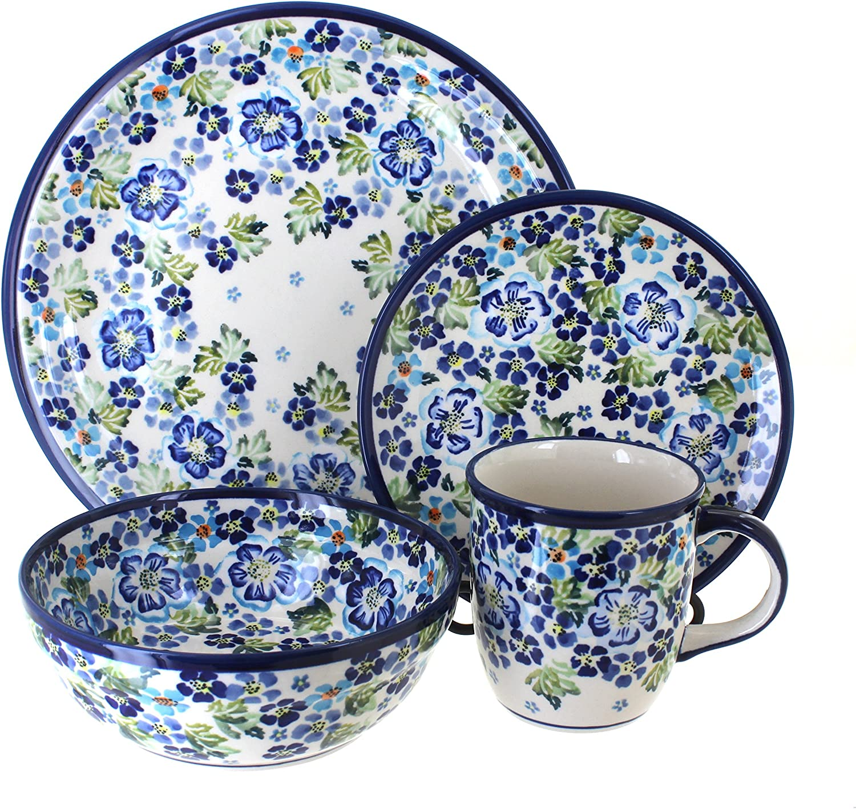 Vintage Ceramic Stoneware Plates Handmade in Poland Polish Pottery Dinner Plates