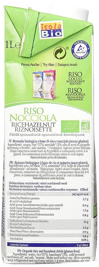 Isola Bio Orgánica Arroz y coco bebida 1 Litro (Pack de 6): Amazon.es: Alimentación y bebidas