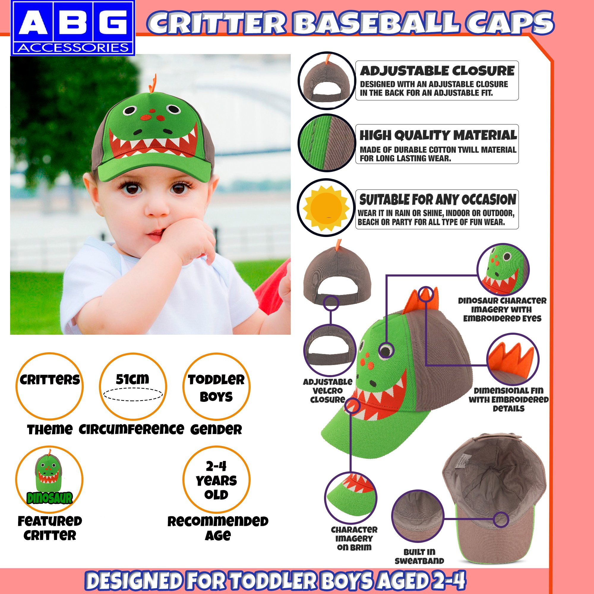 ABG Accessories Toddler Boys Cotton Baseball Cap with Assorted Animal Critter Designs, Age 2-4 (Dinosaur Design – Green/Grey) by ABG Accessories (Image #2)
