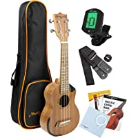 Martin Smith Sapele Wood Concert Ukulele Starter Kit with Aqulia Strings – Includes online lessons, tuner, bag, strap and spare strings.