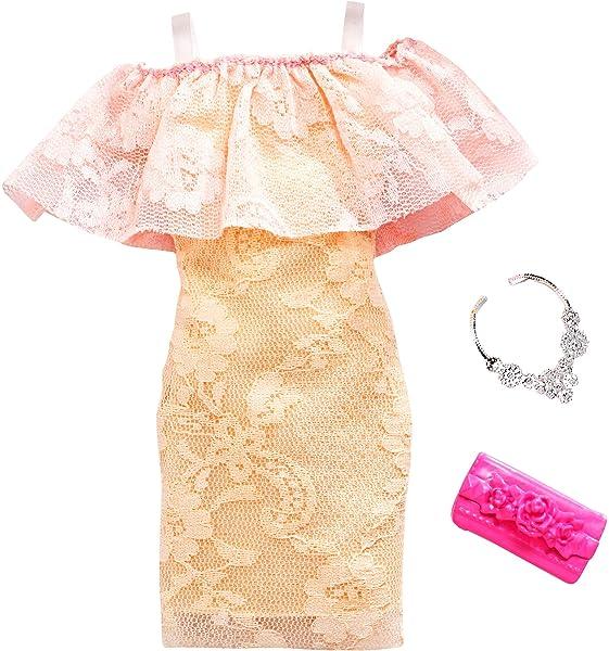 Cute Barbie Doll Clothing item Peach /& White Long Wrap Dress Handmade