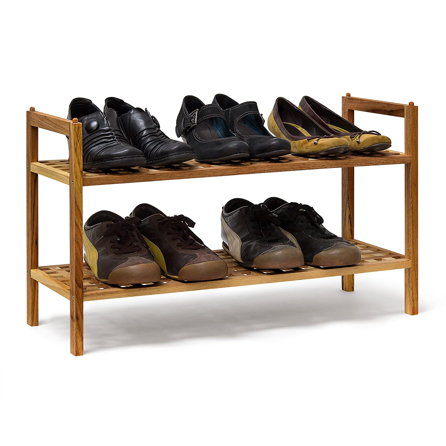 Relaxdays Two-Tier Shoe Rack, Wood, Brown, 40.5 x 69 x 26 cm 10019276