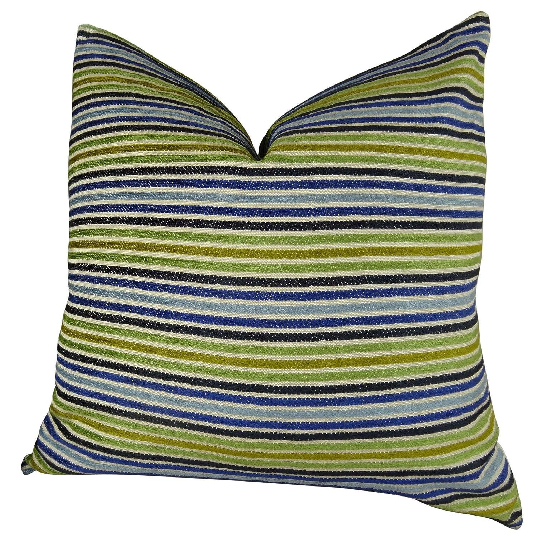 デザイナー装飾ストライプソファ枕、アクアネイビーブルーグリーンソファ枕、ハンドメイドin USA、トーマスコレクション11317 V....Double Sided 20