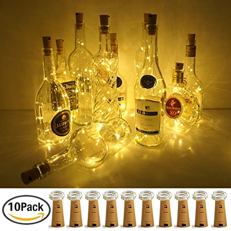 Wine Bottle Lights With Cork, LoveNite 10 Pack Battery Operated LED Cork  Shape Silver Copper