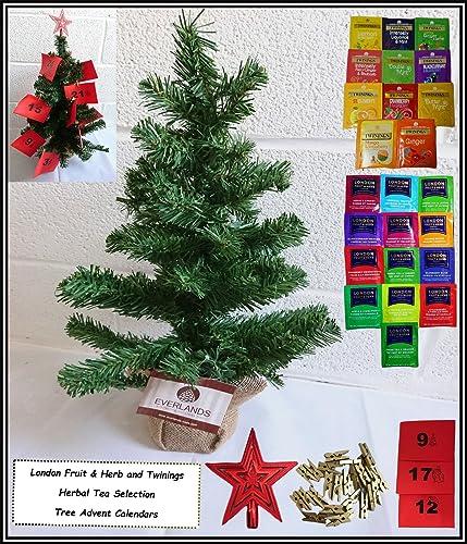 London Fruit & Herb Tea, Twinings Tea, Herbal Tea Advent Calendar For 1 - With 2ft Christmas Table Top Tree