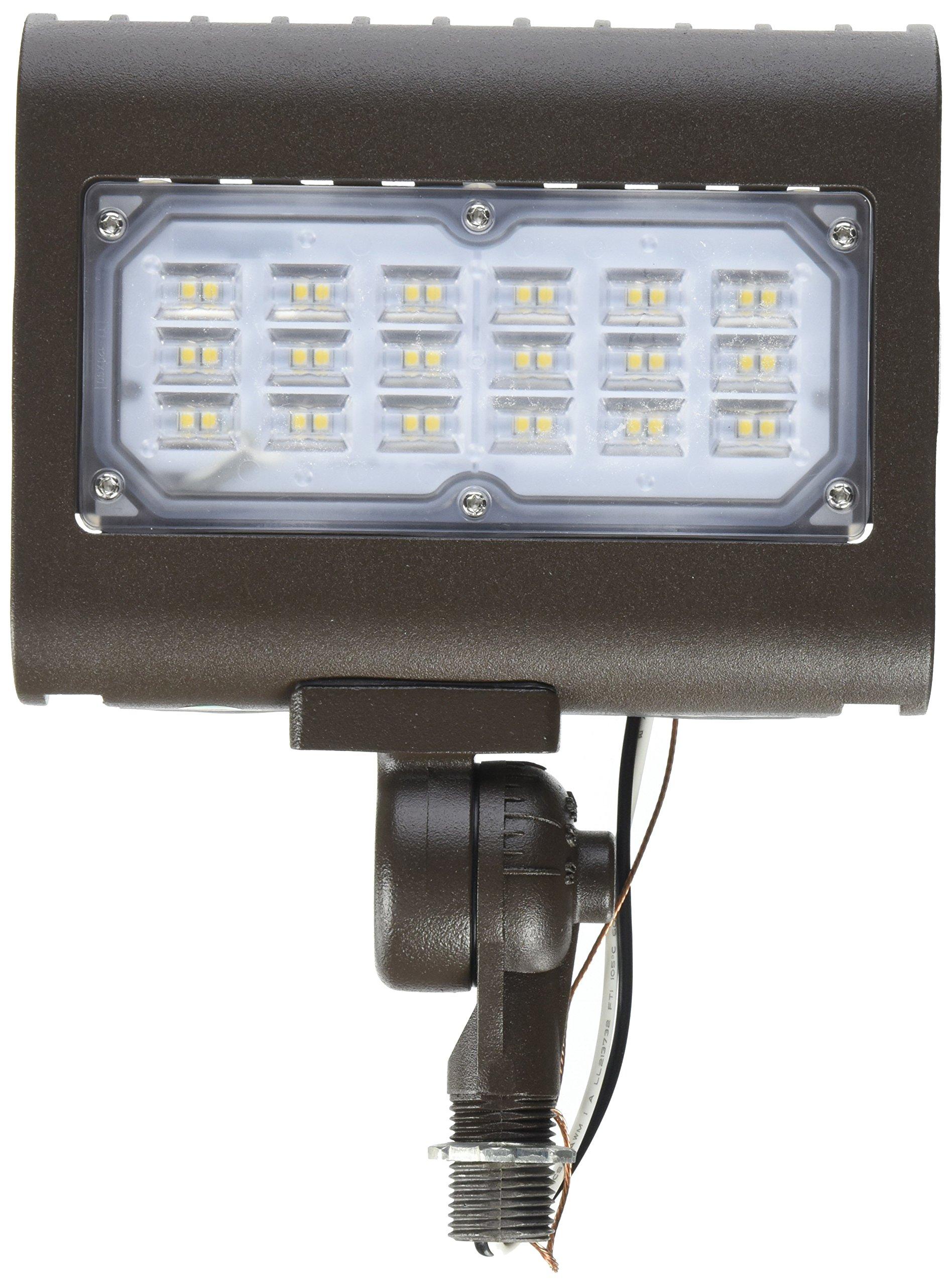 Morris 71554 30W 5000K LED Flat Panel Flood Light with 1/2'' Adjustable Knuckle Mount, 2995 lm, 120-277V, Bronze
