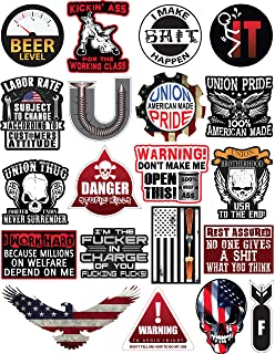 Hard Hat Stickers 50 Pack, BOENFU Union American Patriotic