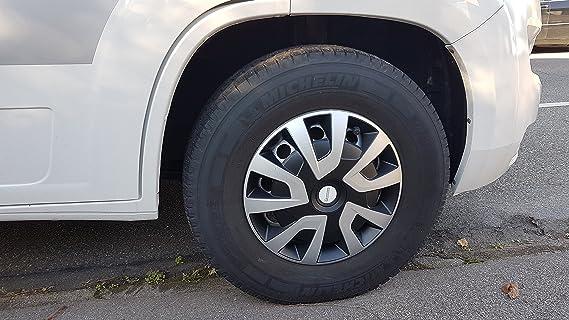 Michelin 92020 Tapacubos Denise para Transporter, Van y caravanas, 4 Piezas, 38,1 cm Reflector Sistema n.v.s, Plata de Negro, 4 Unidades, 15 Pulgadas: ...