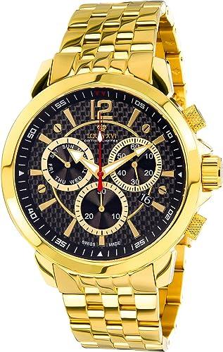 Orologio cronografo da uomo  in acciaio inossidabile oro con quadrante in carbonio louis xvi 800