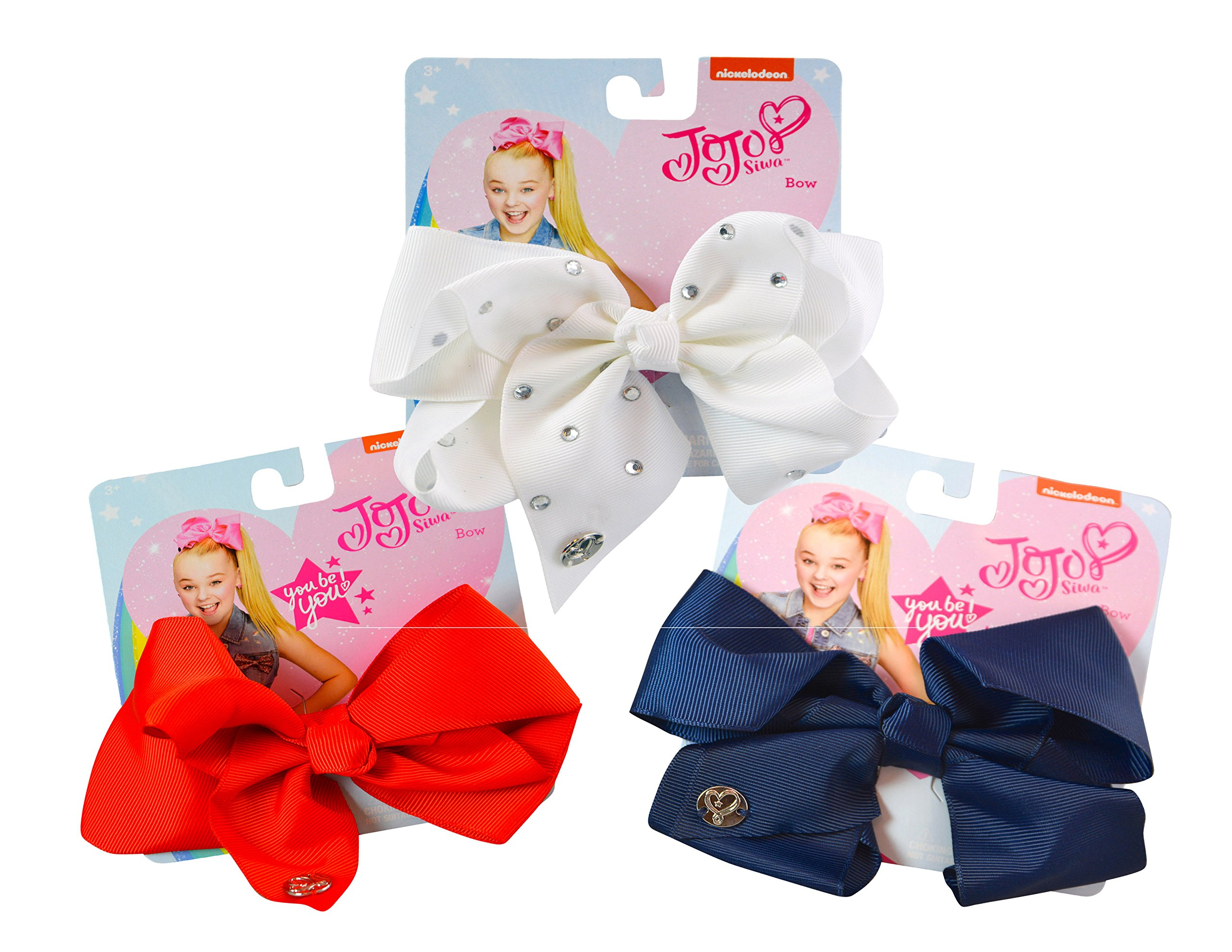 3-PACK, JoJo Siwa Patriotic Glam Signature Hair Bows Collection- White Rhinestones, Red & Navy Blue