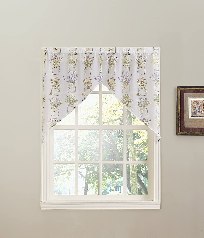 "No. 918 Eve's Garden Floral Print Kitchen Curtain Swag Pair, 54"" x 38"", White"