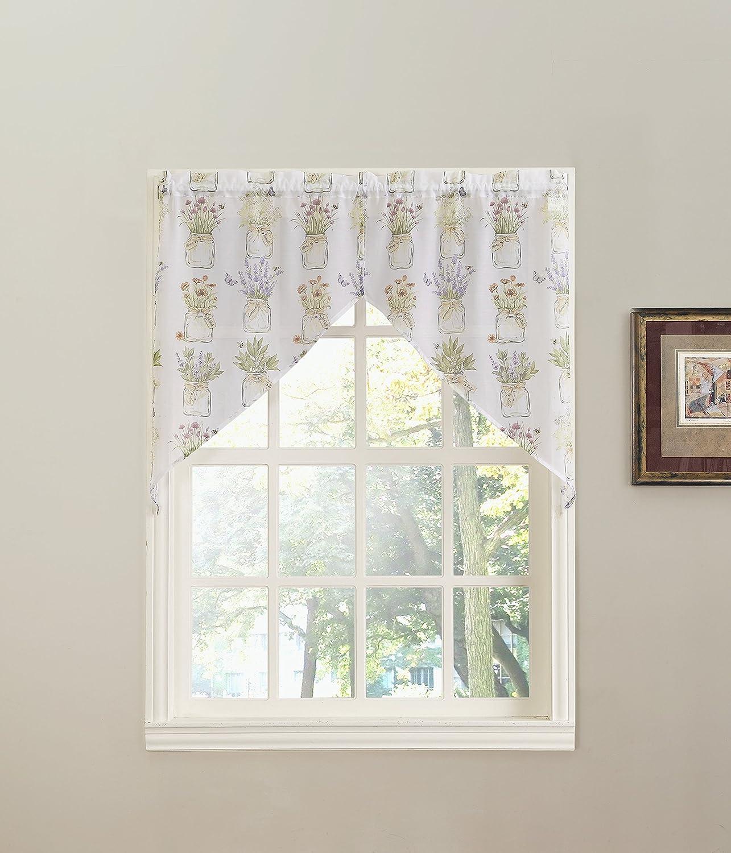 White 54 x 14 918 Eves Garden Floral Print Kitchen Curtain Valance No