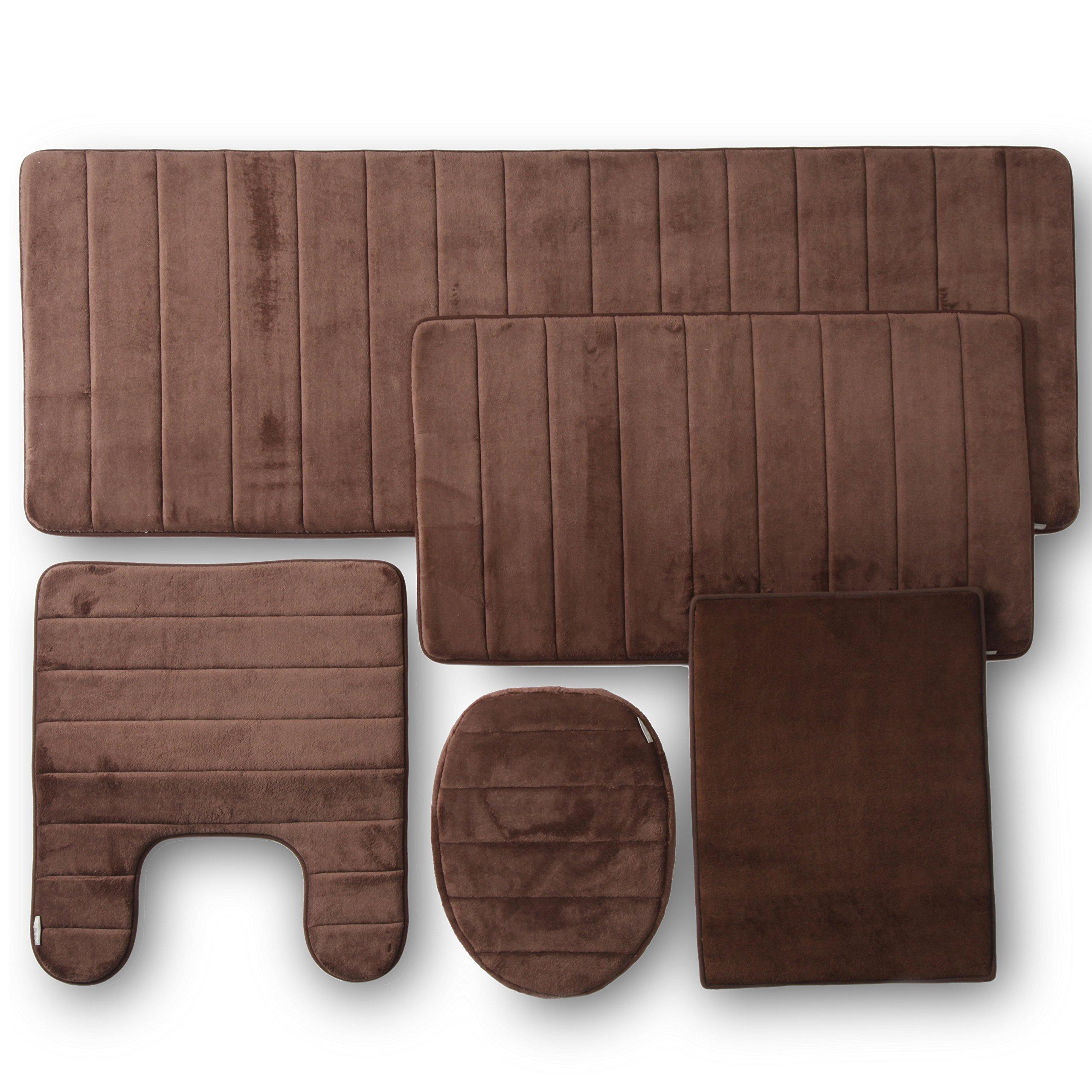 Townhouse Rugs Memory Foam Bathroom Set Combo, 5 Piece, Brown