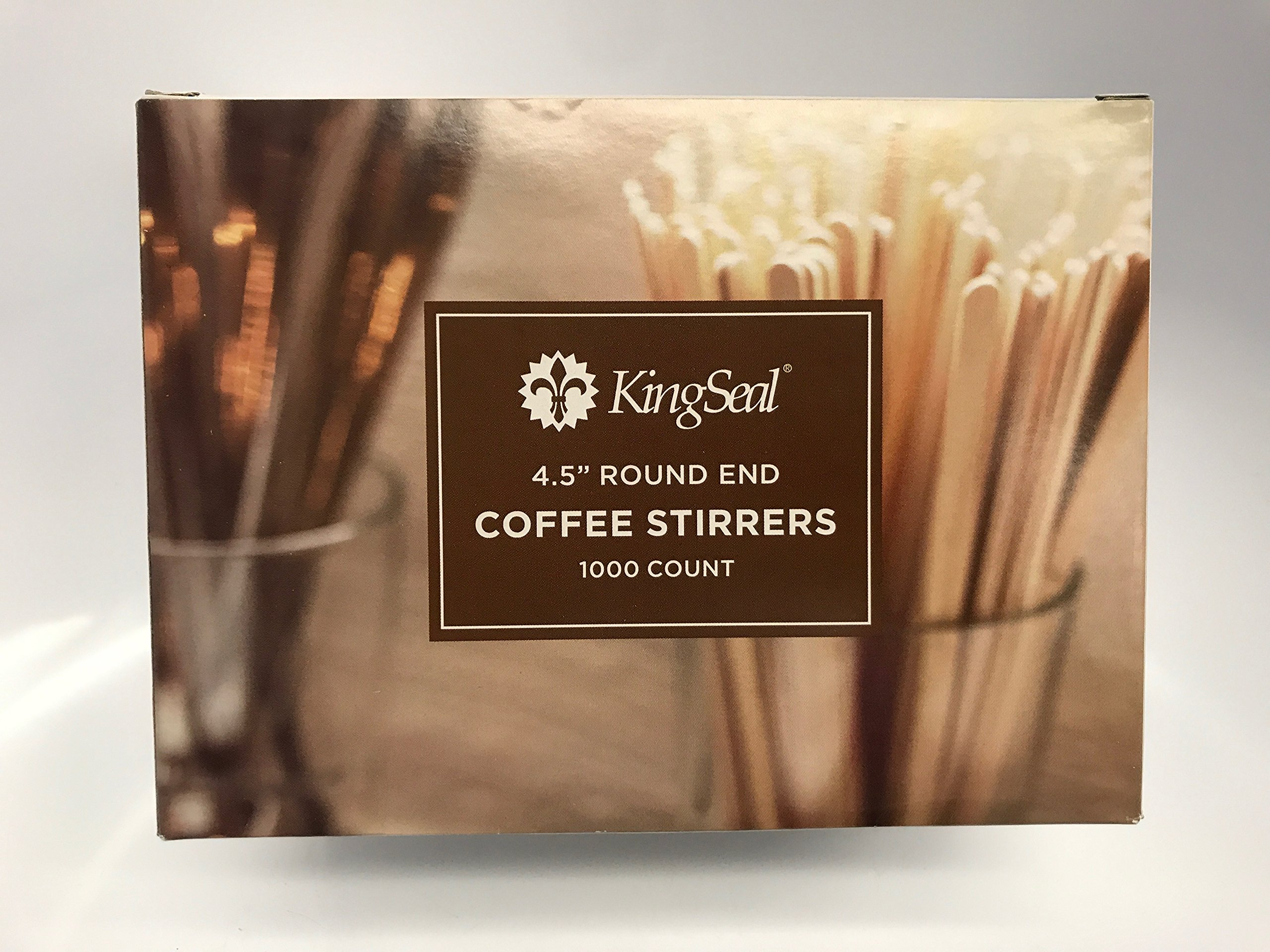 KingSeal Wood Coffee Beverage Stirrers, Craft Sticks, Round End - 4.5 Inches, 2 Pack/1000 per Pack