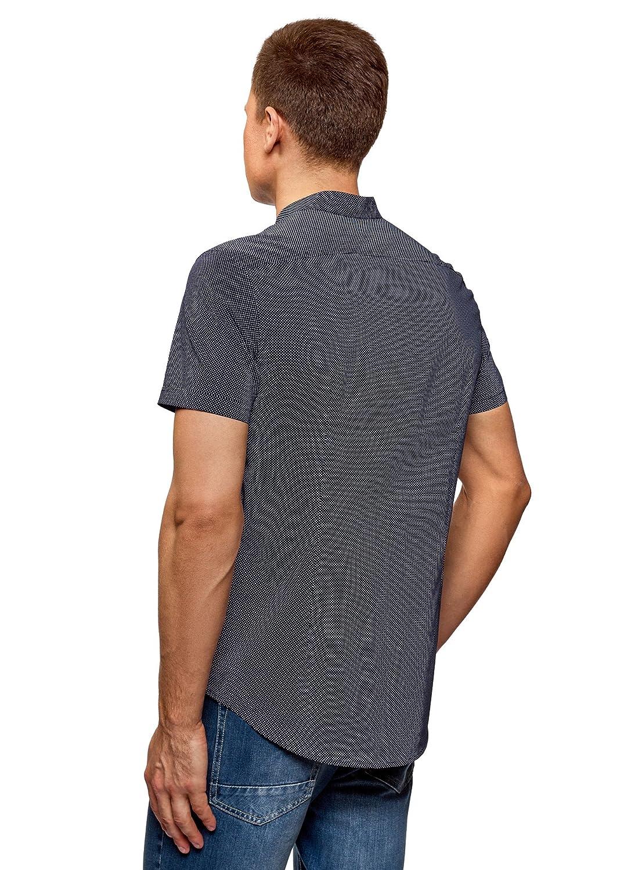 oodji Ultra Hombre Camisa de Algod/ón de Manga Corta