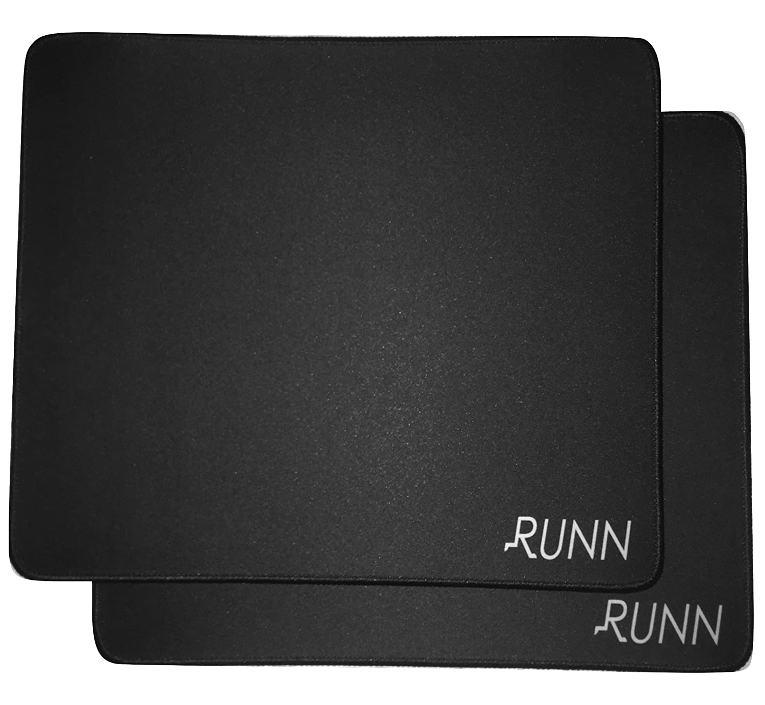(2-Pack) Runn Large Black Gaming Mouse Pad / Mat with Stitched Edges, 3mm Thick, Smooth surface, for Speed and Precision