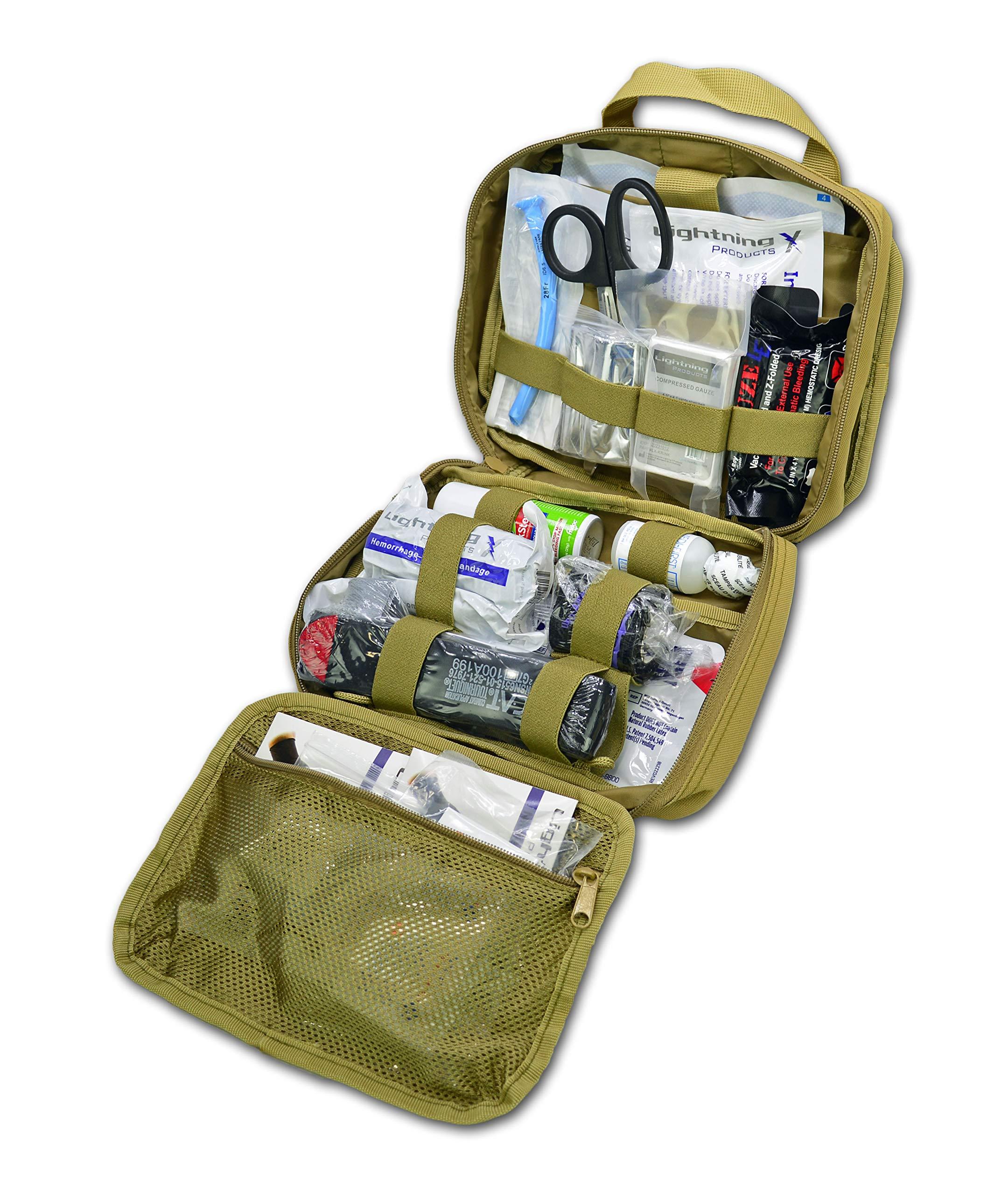 Lightning X Rip-Away Officer's Patrol Tactical Gunshot & Trauma IFAK Kit w/Headrest Mount - TAN by Lightning X Products