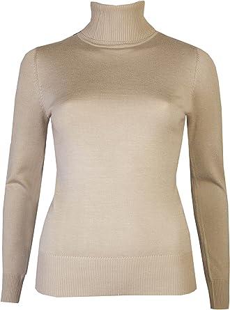 Brody & Co. Jersey de cuello alto para mujer, cuello de punto fino ...