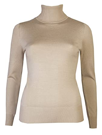 c06f4808678 Womens Roll Necks Jumpers Plain Fine Knit Polo Necks Sweaters Winter Tops   Amazon.co.uk  Clothing