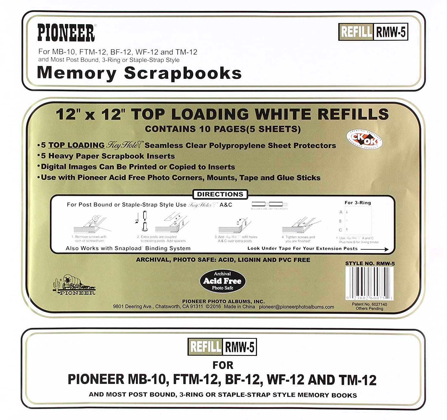 Pioneer White Refill Pages for 8-Inch by 8-Inch Memory Books Pioneer Photo Albums RMW-88